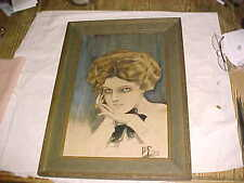 1910 PAINTING JD FOWLER  - Harrison Fisheresque - PEN INK WATERCOLOR