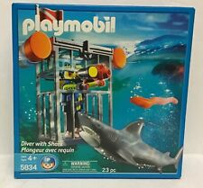 Playmobil 5834 Diver with Shark & Cage  - 23 pc  - NEW  - 2007