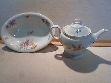 KPM Berlin Porcelain Floral Teapot and Serving Bowl