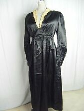 Vtg 30s Black Satin Silk Wrapped Night Gown Robe w/Cream Floral Lace-Bust 36/S-M