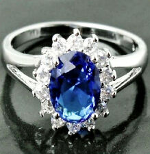 NEW Royal Blue Sapphire CZ Crystals Fashion Ring 18K White Gold Filled Sz 6.75