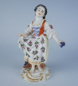 Antique Meissen Germany Hand Painted Porcelain Figurine of Girl w Grapes