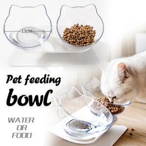 Pet Bowl Anti-Vomiting Orthopedic Non-slip Tilt Pet Cat Dog Food Water Feeder UK