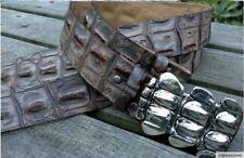 4cm echt Leder Gürtel Krokodil für Wechselschnalle Buckel Harley braun