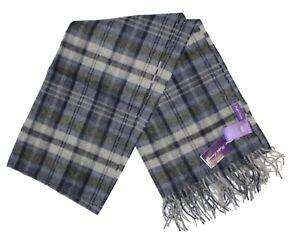 """Ralph Lauren Purple Label Mens Blue Plaid English Cashmere Scarf 20"""" x 70"""" $495"""