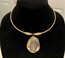 Robert Lee Morris Soho Collar Necklace Gray MOP Shell Stone Pendant