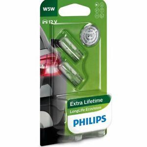 PHILIPS LongLife EcoVision W5W 12961LLECOB2 W2,1x9,5d Car Indicators Bulbs