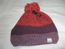 9a7d9a5c805 Bench Wool Blend Ribbed Striped Bobble Beanie Hat Pink Blue Red