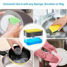 2 in 1 Home Liquid Soap Pump Dispenser Abs Kitchen Sponge Holder Press Gray Usa
