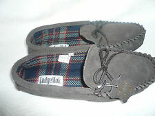 MENS MOCCASIN SLIPPERS SIZE 8UK DARK BROWN REAL SUEDE BY COOLERS