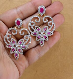 Cubic Zirconia Stunning Ruby Yellow Gold Plated Earrings 14 RE 30