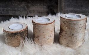 Rustic Wooden Branch Tree Tea Light Silver Birch Wood Candle Holders Wedding