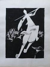GUY-MAX HIRI (1928-1999) COMPOSITION AU CHEVALIER ENCRE DE CHINE / PAPIER 1960 3