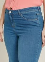 Ladies Evans Plus Size Jeans Jeggings Womens Wide Leg Curve Fit Blue Mid Pants