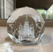 3D LASER ETCHED CRYSTAL PAPERWEIGHT OF ST. BASIL'S CATHEDERAL RUSSIA