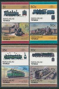 1985 TUVALU - NUKULAELAE LOCOMOTIVES 3rd SERIES SET OF 8 FINE MINT MNH (LOW)