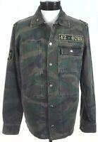 ZARA MAN Military Shirt/Overshirt Jacket Green Camo w Patches Snap Men's M New