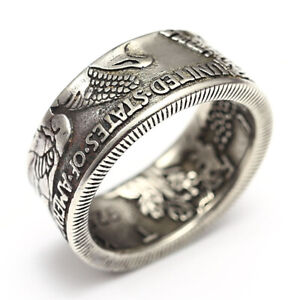 1921 Handcraft Coin Ring Handmade Half Dollar Silver Plated Vintage Coin Rings