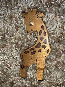 """Vintage Miniature 3"""" Wood Giraffe Figurine Myrtlewood"""