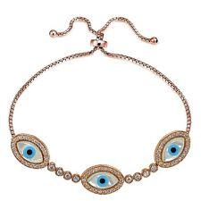 Rose Gold Tone over 925 Silver Mother of Pearl Evil Eye & CZ Adjustable Bracelet