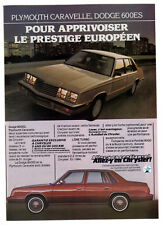 1984 PLYMOUTH Caravelle DODGE 600ES Vintage Original Print AD Chrysler small ad
