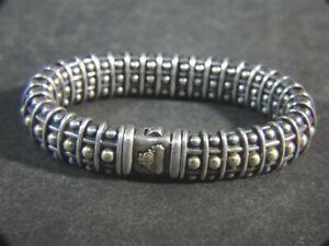 LAGOS CAVIAR 750 18k Gold 925 Sterling Silver Bead & Bow Link Flex BRACELET