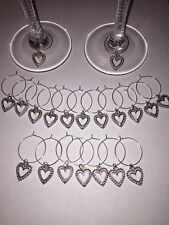20 x Wine glass charms silver tone heart pendant wedding birthdays handmade