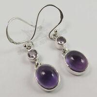 Beautiful Dangle Earrings Natural AMETHYST Gemstones 925 Solid Sterling Silver