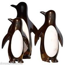 Scultura Pinguini Marmo Nero Maya Bianco Black White Marble Penguin Statue 15cm