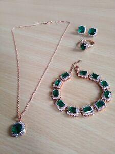 Neu: Damen Schmuckset (Halskette, Armkette, Ohrstecker, Ring) 750 Ros'egold