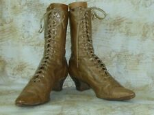 Antique Victorian Edwardian Boots/ Womans Khaki Leather High Top Lace Up Shoes