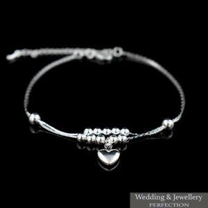Fashion Ankle Bracelet Women 925 Sterling Silver Anklet Foot Jewelry Chain Heart