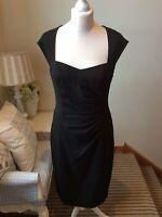 L K Bennett Black Dress Size 12 Business Office Pencil Straight Sleeveless LBD
