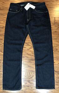 Banana Republic Men's Vintage Straight Jeans Sz 33x30 Dark Raw Decorative Stitch