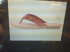 NEW Minnetonka DESIGNER MARIN Brown Tan Leather Sandal Red/Bronze Beaded  Size 5