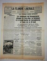 N850 La Une Du Journal La Flandre libérale 11 mai 1940 la guerre nous atteint