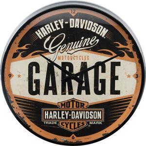 HARLEY DAVIDSON Garage Wanduhr Original Biker Uhr Retro Werkstatt Service Schild