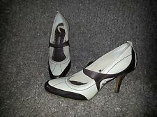 DONALD PLINER SPORTIQUE-Brenda-Brown/Beige Leather Mary Jane Pump-SZ 7-Near Mint