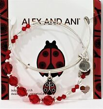 Alex and Ani Ladybug Charm Bracelet + Swarovski Crystal Bead Bangle With Box