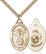 14K Gold Filled St Michael Marines Military Soldier Catholic Medal Necklace
