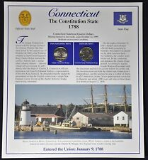 1999 CONNECTICUT State Quarters & Stamps Panel by Postal Commemorative Society