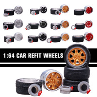 1/64 Scale Alloy Wheels - Custom Hot Wheels, Matchbox,Tomy, Rubber Tires w/Box