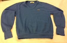 Vintage Izod Lacoste Men's Sky Blue M Knit Sweater L/S VGUC W/Blue Crocodile