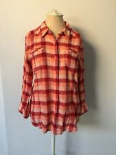The North Face Size XL Orange Red Plaid 3/4 Sleeve Shirt 100% Organic Cotton