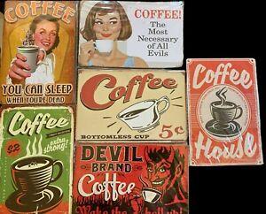 COFFEE TIN SIGNS GARAGE - RUSTIC LOOK - VINTAGE - METAL MAN CAVE SHED GARAGE BAR