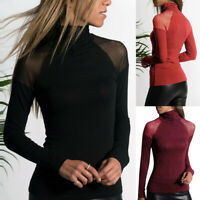 Women Solid Color Casual Shirt Long-Sleeved Mesh High-Neck T-Shirt Top Blouse US
