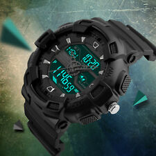 Men's 12/24H Large Dial LED Digital Waterproof Sport Military Quartz Wrist Watch