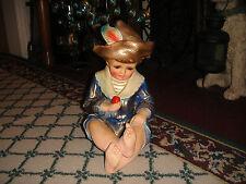 Vintage Chalkware Plaster Statue Victorian Boy Holding Apple-Lifelike-Painted