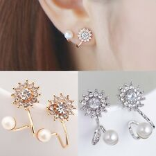 1 Pair Women's Simulated Pearl Studs Rhinestone Snowflake Ear Clip Earrings Kit