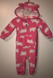 Carters Baby Girls Hooded Pink Fleece Polar Bear Romper Jumpsuit 6 months